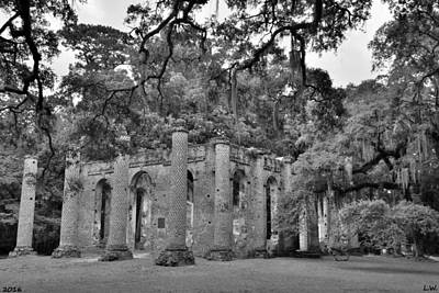 Photograph - Old Sheldon Church Ruins Black And White 2 by Lisa Wooten