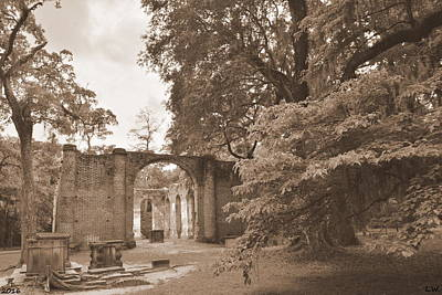 Photograph - Old Sheldon Church Ruins Sepia 2 by Lisa Wooten