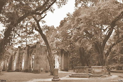 Photograph - Old Sheldon Church Ruins Sepia by Lisa Wooten