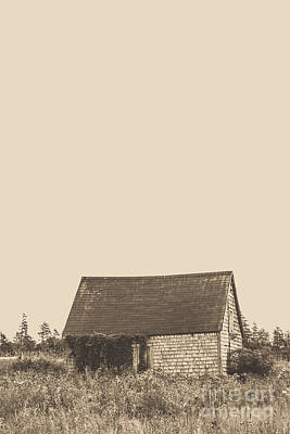 Brown Tones Photograph - Old Shingled Farm Shack by Edward Fielding
