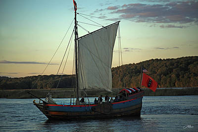 Photograph - Old Ship Recplica Sails The River At Sunset by Mike M Burke
