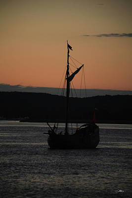 Photograph - Old Ship Silhouette At Sunset by Mike M Burke