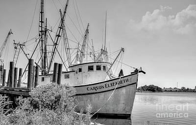 Photograph - Old Shrimp Boat Black And White by Kathy Baccari