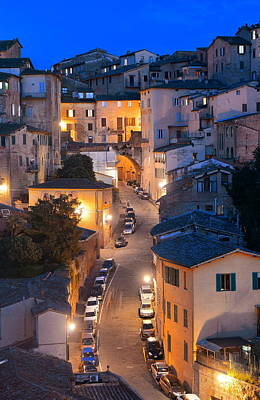 Photograph - Old Siena Town Night by Songquan Deng