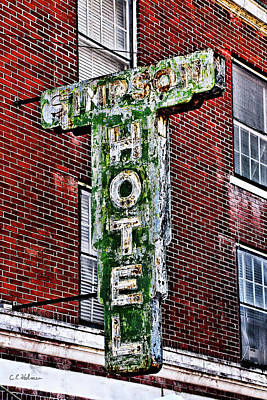 Old Simpson Hotel Sign Print by Christopher Holmes