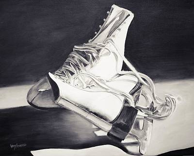 Old Skates Black And White Variation I Art Print