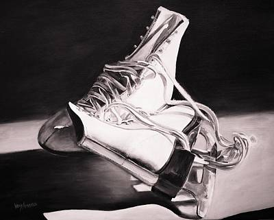 Old Skates Black And White Variation II Art Print