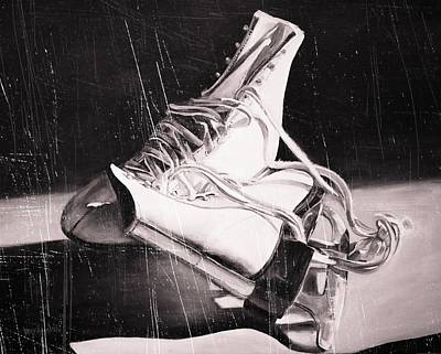 Old Skates Black And White Variation IIi Art Print
