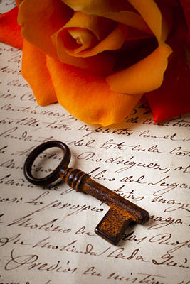 Old Skeleton Key On Letter Print by Garry Gay