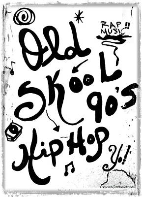 Drawing - Old-skool 90's Hip-hop by Rachel Maynard
