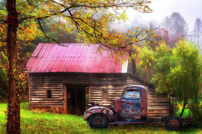 Photograph - Old Smoky Truck And Barn by Debra and Dave Vanderlaan