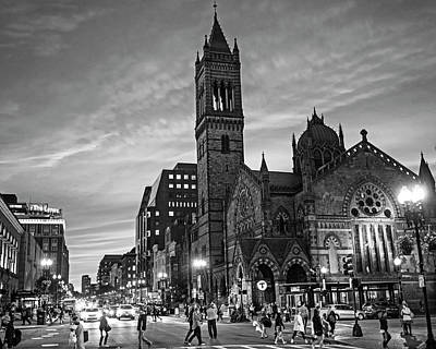 Photograph - Old South Church At Sunset Boylston Street Boston Ma Black And White by Toby McGuire