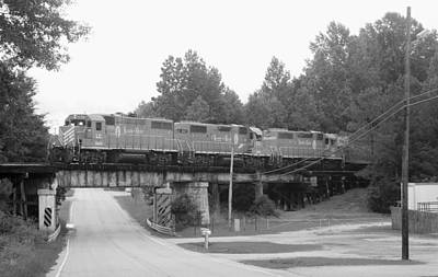 Photograph - Old Southern Locomotives On Old Southern Bridge 10 Bw by Joseph C Hinson Photography