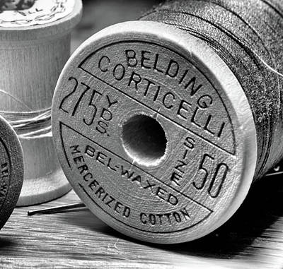Wine Corks - Old Spool of Thread in Black In White by Larry Jost