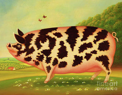 Flying Pig Painting - Old Spot Pig by Frances Broomfield