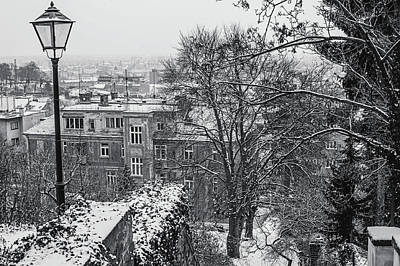 Photograph - Old Staircase In Winter Brno. Black And White by Jenny Rainbow