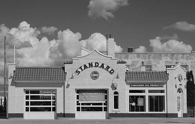 Photograph - Old Standard Station Bw by Mary Bedy