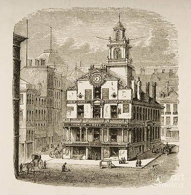 Ma. Drawing - Old State House, Boston by English School
