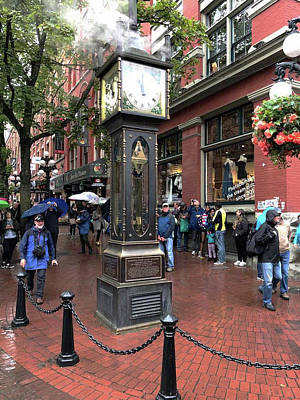 Photograph - Old Steam Clock In The Rain At Gastown In Vancouver by Jacki Kellum