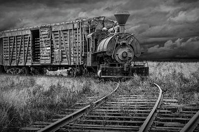 Photograph - Old Steam Locomotive Train Engine In Black And White by Randall Nyhof