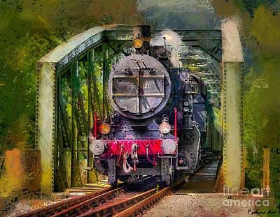 Railway Mixed Media - Old Steam Train by Dragica Micki Fortuna