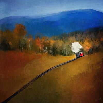Linda King Digital Art - Old Steam Train Square 4157 by Linda King