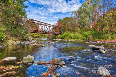 Photograph - Old Steel Truss Train Bridge Newport New Hampshire by Edward Fielding