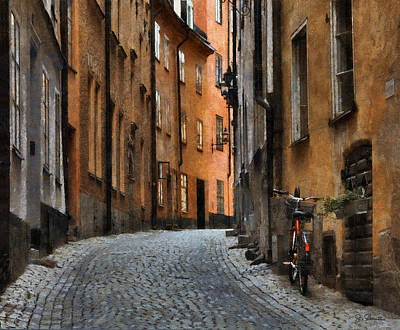 Brick Street Photograph - Old Stockholm by Joe Bonita