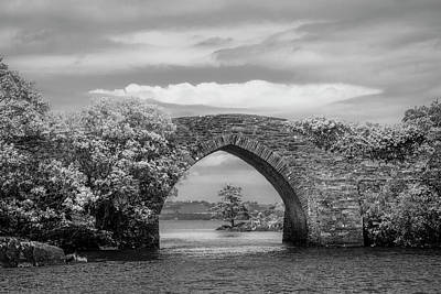 Photograph - Old Stone Bridge In Ireland Black And White by Debra and Dave Vanderlaan