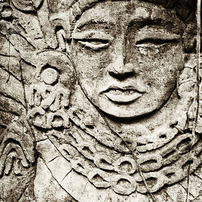 Old Stone Carving Of A Face Art Print