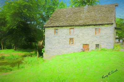 Digital Art - Old Stone House With A Working Water Wheel, In The Pequea Creek by Rusty R Smith