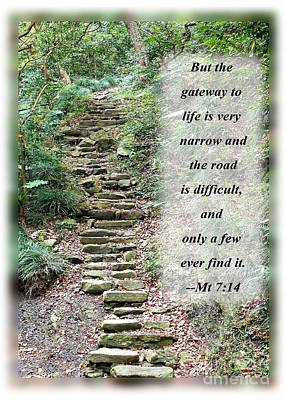 Photograph - Old Stone Path In A Dense Forest With Scripture by Yali Shi