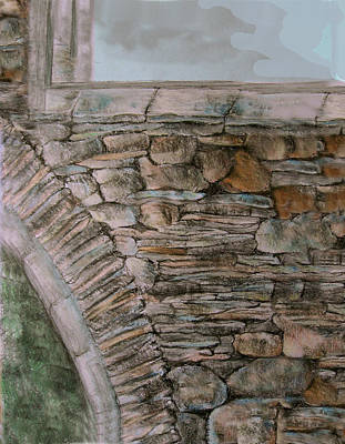 Cahill Drawing - Old Stonework by Orla Cahill