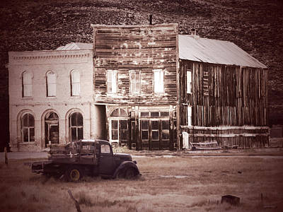 Photograph - Old Buildings With Truck Sepia by Alan Socolik