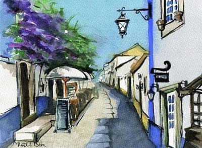 Watercolor Wisteria Painting - Old Street In Obidos, Portugal by Dora Hathazi Mendes