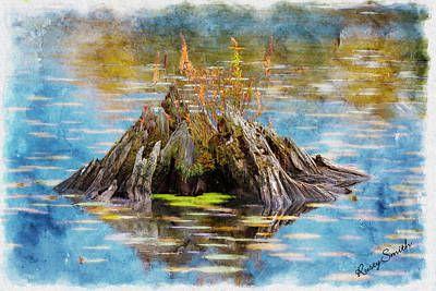 Digital Art - Old Stump In Water. by Rusty R Smith