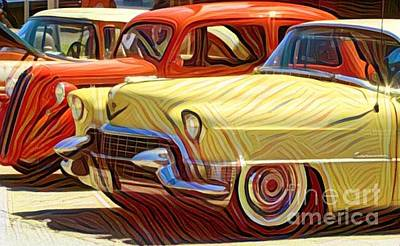 Super Cars Drawing - Old Style Cars by Douglas Sacha