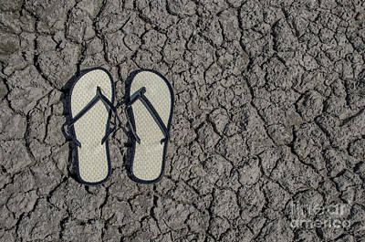 Photograph - Old Style Sandals On Drought Cracked Earth by Liz Masoner