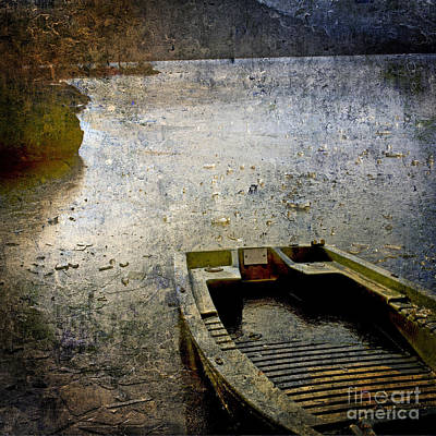 Small Boat Photograph - Old Sunken Boat. by Bernard Jaubert