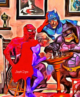 League Painting - Old Super Heroes by Leonardo Digenio
