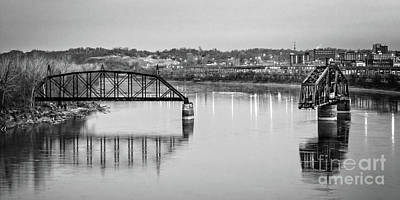 Photograph - Old Swing Bridge Trestle In Bw by Imagery by Charly