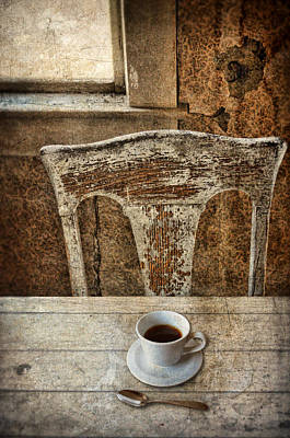 Empty Chairs Photograph - Old Table And Chair With Coffee by Jill Battaglia