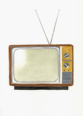 Tv Painting - Old Television Set by Michael Vigliotti
