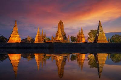 Gautama Photograph - Old Temple Wat Chaiwatthanaram by Anek Suwannaphoom
