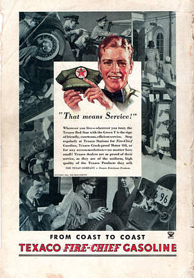 Photograph - Old Texaco Fire Chief Gasoline Ad by rd Erickson