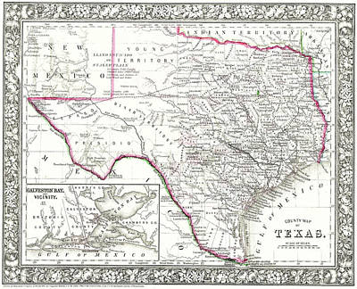 Photograph - Old Texas Map 42617 by Rospotte Photography