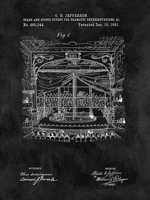 Entertain Mixed Media - Old Theater Stage Patent by Dan Sproul