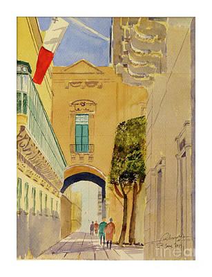 Painting - Old Theater Street Valletta by Godwin Cassar