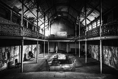 Abandoned Houses Photograph - old theatre in decay - urban exploration BW by Dirk Ercken