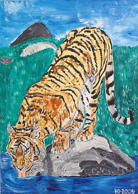Old Tiger Drinking Art Print by Valerie Ornstein